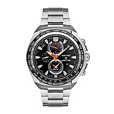 image of Seiko Men's Prospex World Time Solar Chrono Bracelet Watch in Stainless Steel with Black Dial