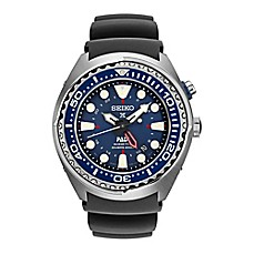 image of Seiko Men's 47mm Kinetic GMT Diver Prospex Watch in Stainless Steel with Black Silicone Strap