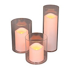 image of Glass Hurricane with LED Candle (Set of 3)