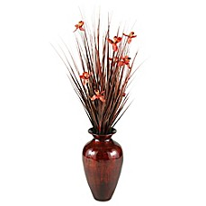 image of D&W Silks Artificial Orchid Blossom Arrangement with Antique Red/Gold Metallic Lacquer Vase