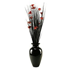 image of D&W Silks Artificial Orchid Blossom Arrangement in Red/Black with Black Lacquer Vase