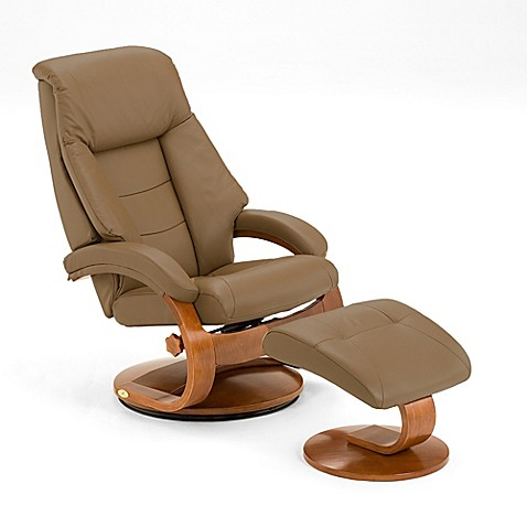 Oslo Leather Swivel Recliner And Ottoman Set In Tan Bed