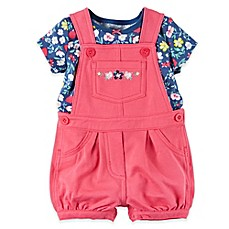 image of carter's® 2-Piece Flower T-Shirt and Shortall Set