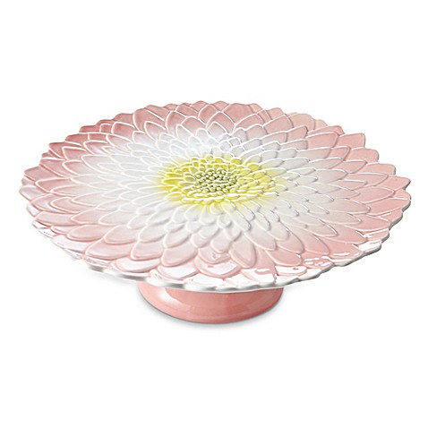 Julia Knight® Bloom Dahlia Footed Cake Plate in Pink