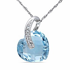 image of 10K White Gold .03 cttw Diamond Accented Blue Topaz Heart 17-Inch Pendant Necklace