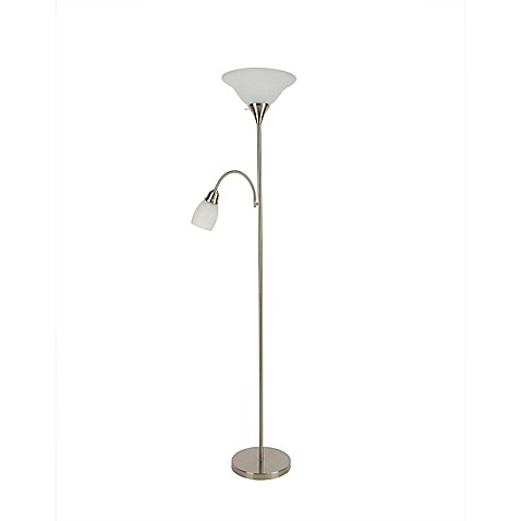 torchiere floor lamp with reader in brushed nickel the alton torchiere. Black Bedroom Furniture Sets. Home Design Ideas