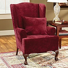 image of Sure Fit® Stretch Royal Diamond Wingback Chair Slipcover