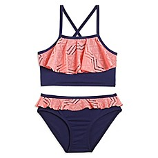 image of Pink Platinum 2-Piece Crochet Overlay Swimsuit in Navy/Pink