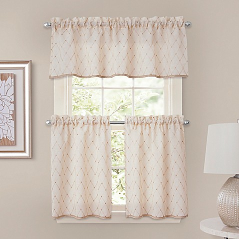 crystal brook window curtain tier pairs and valance in ivory - bed