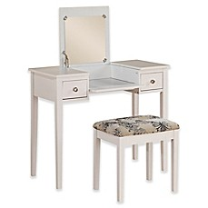 image of Linon Home Folding-Top 2-Piece Vanity Set with Butterfly-Print Bench