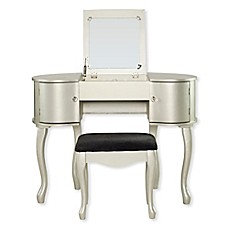 image of Linon Home Paloma 2-Piece Vanity Set in Silver