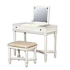 image of Linon Home Cyndi 2-Piece Vanity Set in White