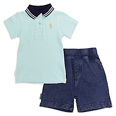image of blue banana® Desert Cactus 2-Piece Polo Shirt and French Terry Denim Short Set in Blue