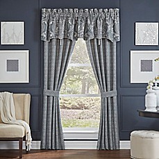 image of Croscill® Gabrijel Lined 84-Inch Pole Top Window Curtain Panel Pair in Slate Blue