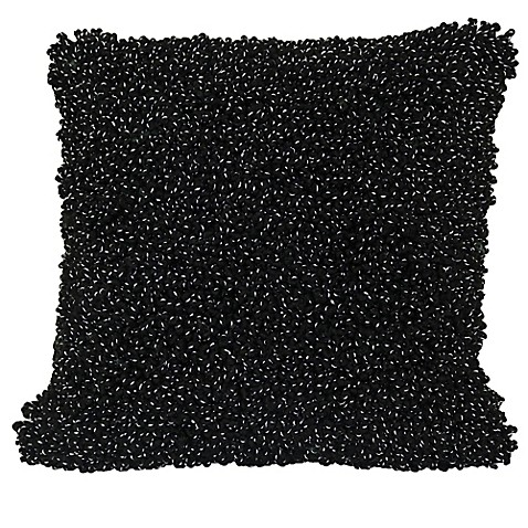 Micro Boucle 20-Inch Square Throw Pillow in Black - Bed Bath & Beyond