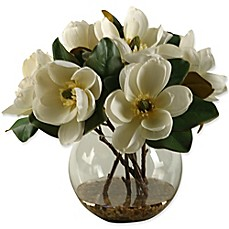 image of D&W Silks Magnolias in Clear Glass Bubble Bowl