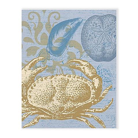 Damask Crab Light Blue 20-Inch x 24-Inch Metal Wall Art - Bed Bath ...