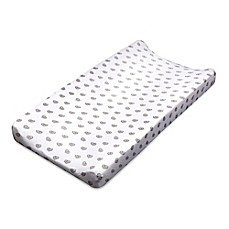 image of Living Textiles Sketched Hearts Changing Pad Cover in Charcoal Grey