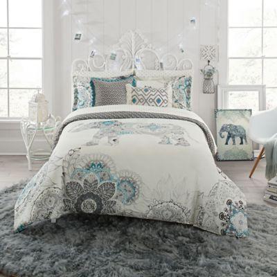image of Anthology  Kiran Reversible Comforter Set. Boho Style Dorm Bedding   Duvet Covers  Throw Blanket   Decor