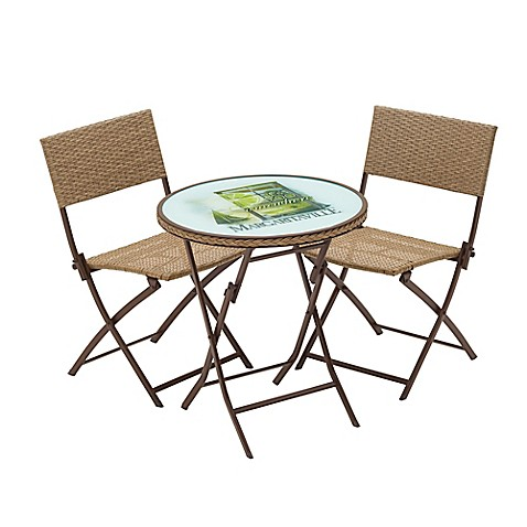 Image Of Margaritaville® Hemmingway 3 Piece Outdoor Wicker Bistro Set In  Brown