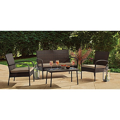 Delightful Image Of 4 Piece Wicker Chat Set In Brown