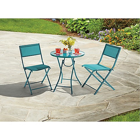 image of destination summer 3piece folding bistro set in teal