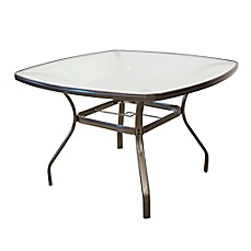 image of tempered glass dining table in bronze