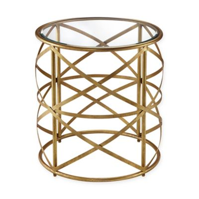 image of Madison Park Nora Metal Drum Table in Gold