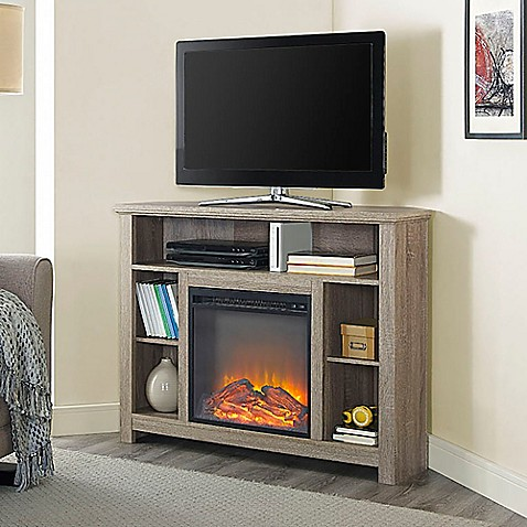 Buy Walker Edison 44-Inch Corner Highboy Fireplace TV ...