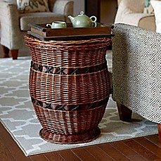 image of Household Essentials Willow Poplar Wicker Urn Drum Table in Brown