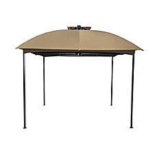Image Of 10 Foot X 10 Foot Steel Double Top Gazebo With Solar