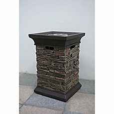 image of Bond Summit Stone Square Column Gas Fire Pit in Beige