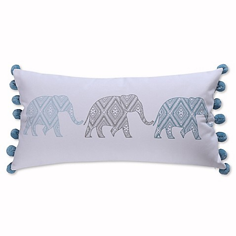Elephant Throw Pillow Bed Bath And Beyond : Levtex Home Fabi Elephant Pom Pom Throw Pillow in Grey/Blue - Bed Bath & Beyond