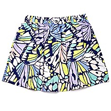 image of Margherita Kids Multicolor Butterfly Print Skirt with Patch Pockets