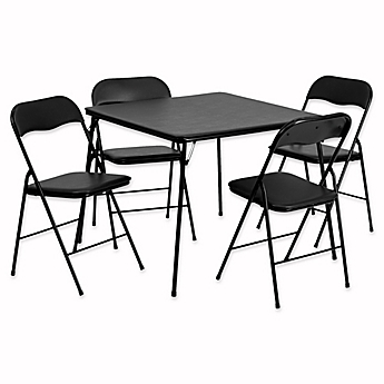 Image Of Flash Furniture 5 Piece Folding Card Table And Chairs In Black