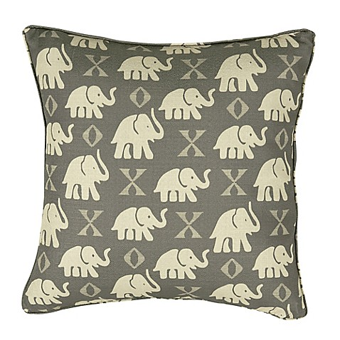 Rose Tree Decorative Pillows : Rose Tree Elephant 18-Inch Square Throw Pillow in Grey - Bed Bath & Beyond