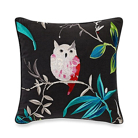 Throw Pillows One Kings Lane : kate spade new york Trellis Blooms Owl Square Throw Pillow in Grey - Bed Bath & Beyond