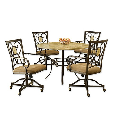 Hillsdale Furniture Brookside 5 Piece Round Dining Set With Oval Back Caster