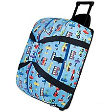 image of Olive Kids 22-Inch Rolling Trains and Planes  Duffel Bag in Blue