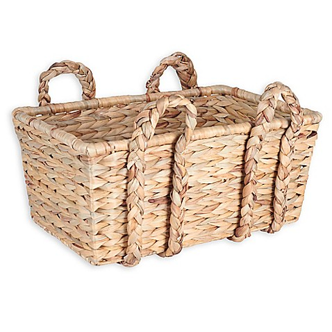 household essentials large wicker basket with braided handles in natural brown bed bath beyond. Black Bedroom Furniture Sets. Home Design Ideas