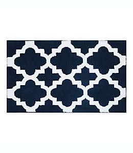 Tapete para baño Adelaide con diseño de grecas, 50.8 x 83.82 cm en azul marino/blanco
