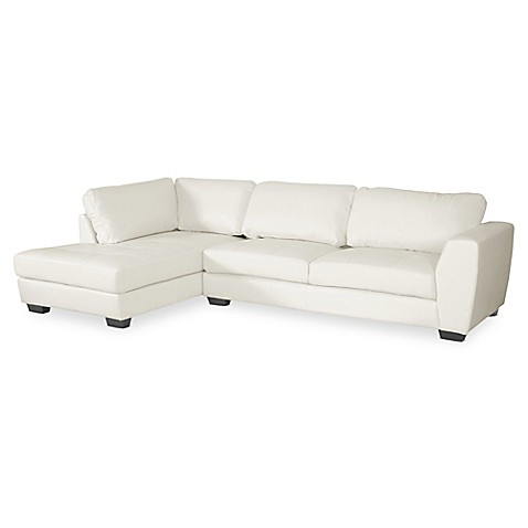 Baxton studio orlando 2 piece left arm facing faux leather for Leather sectional sofa orlando