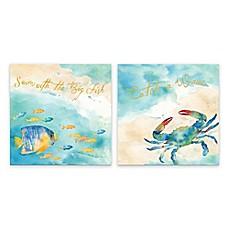 Image Of Sea Splash Sentiments Printed Canvas Wall Art (Set Of 2)