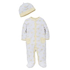 image of Little Me® 2-Piece Cute Ducks Footie and Hat Set in White/Yellow