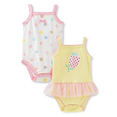 image of Absorba® 2-Pack Tutti Frutti Sleeveless Bodysuits in Yellow/Pink