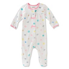 image of Absorba® Watercolor Dot Snap-Front Footie in White