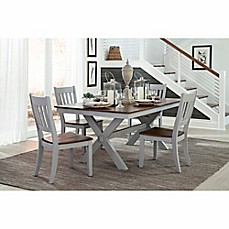 image of intercon furniture small spaces 5piece trestle dining set with side chairs in