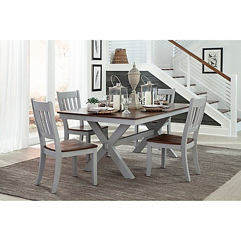 Intercon furniture small spaces 5 piece trestle dining set with side chairs in cherry bed bath - Piece dining set small spaces plan ...