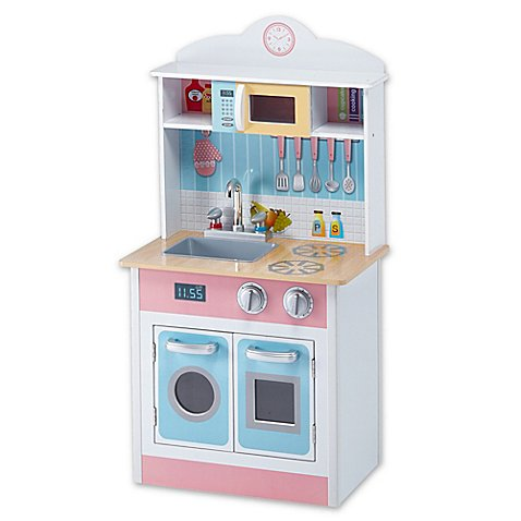 Teamson kids my little chef play kitchen in pastel bed for Small kids kitchen