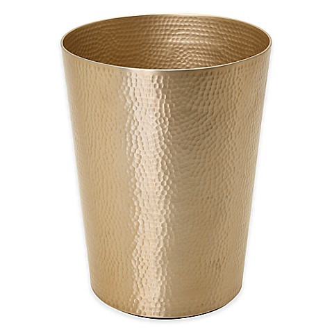 Titan uli wastebasket in gold bed bath beyond for Gold bathroom wastebasket